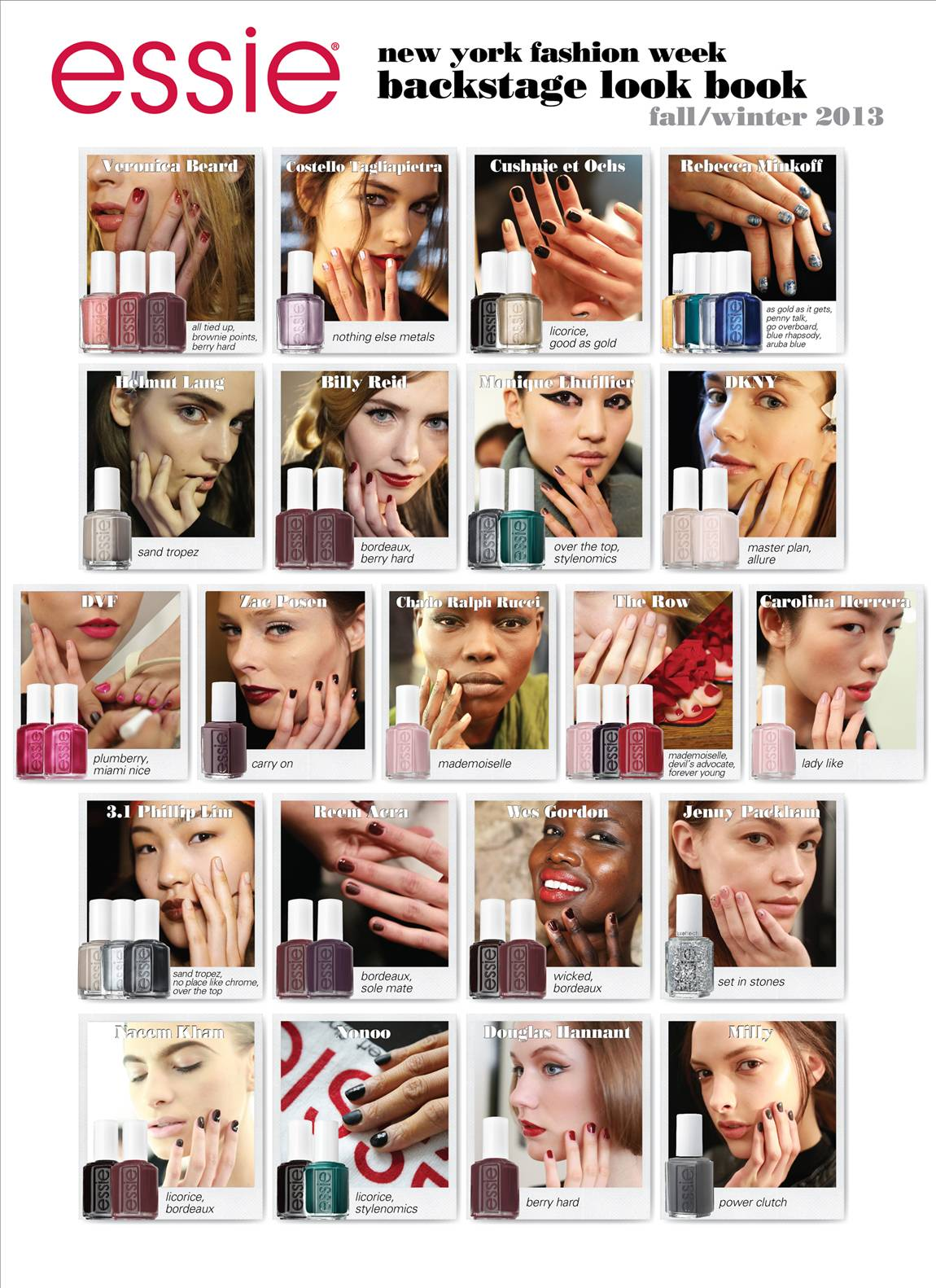 A Visual Essay of  Essie Trends as Seen at  NYFW Fall-Winter 2013