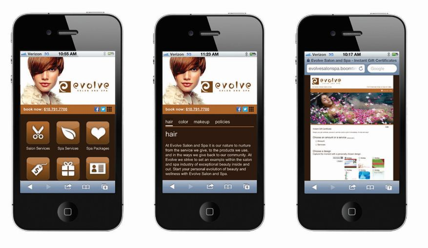 2013 STAMP Mobile Site Winner: Evolve Salon and Spa
