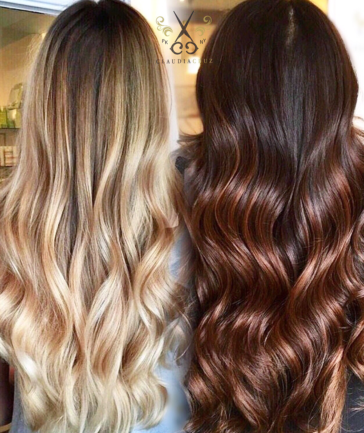 2 balayage looks blonde and caramel sombre career modern salon. Black Bedroom Furniture Sets. Home Design Ideas