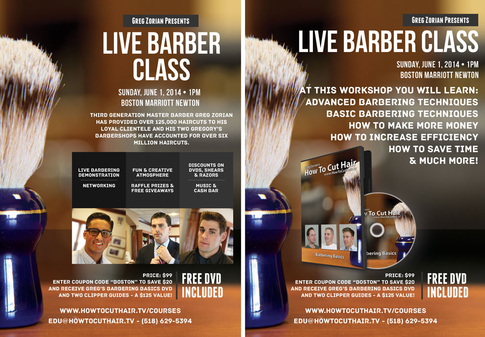 Live Barber Seminars from Greg Zorian in June