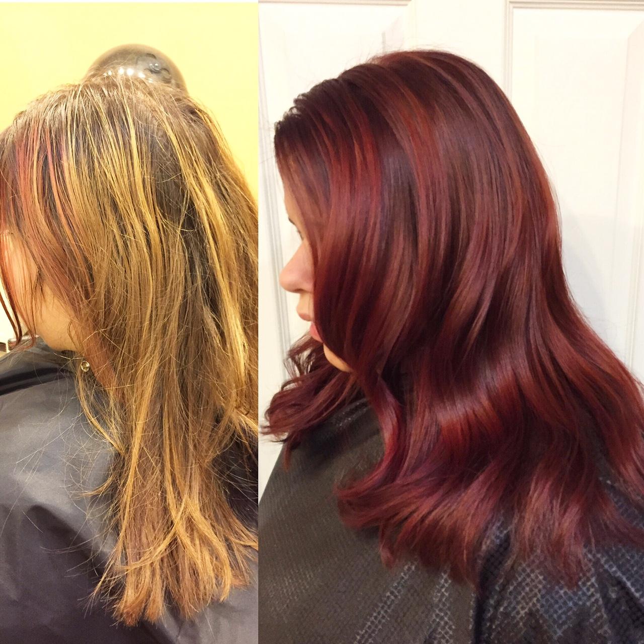 Transformation Dimensional Crimson Color Melt Career Modern Salon