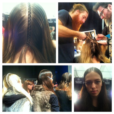 FASHION WEEK: Duffy for Oribe Creates Braided Centerpart at Custo
