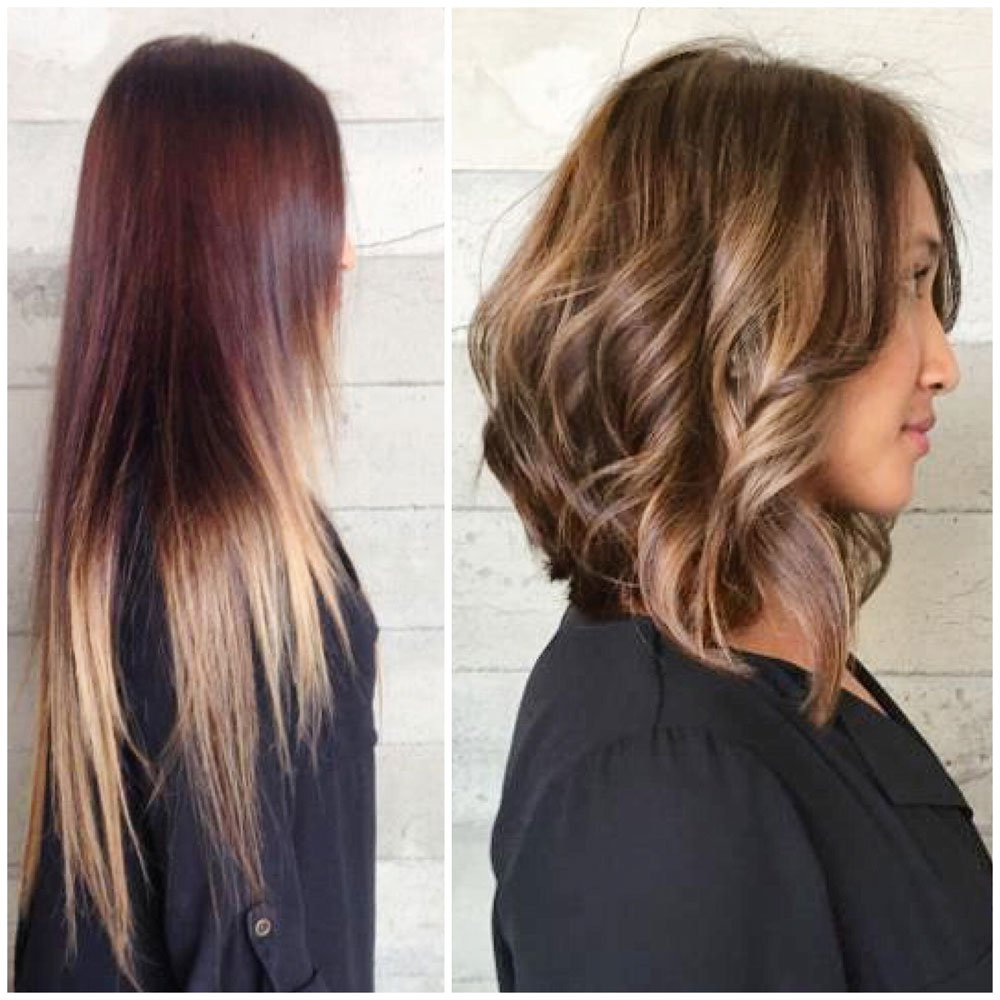Transformation A Perfect Caramel Lob Career Modern Salon
