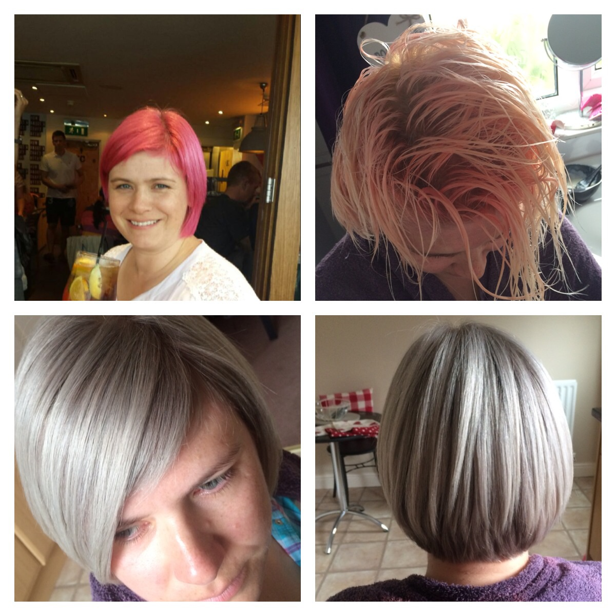 Color Correction Hot Pink To A Silvery Ash Career Modern Salon