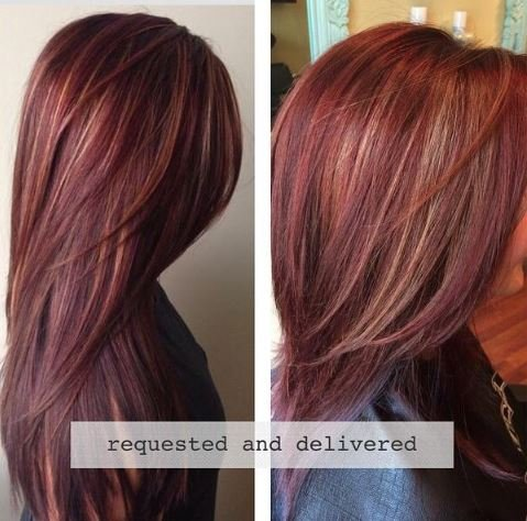 how to rich red hair color with golden caramel highlights