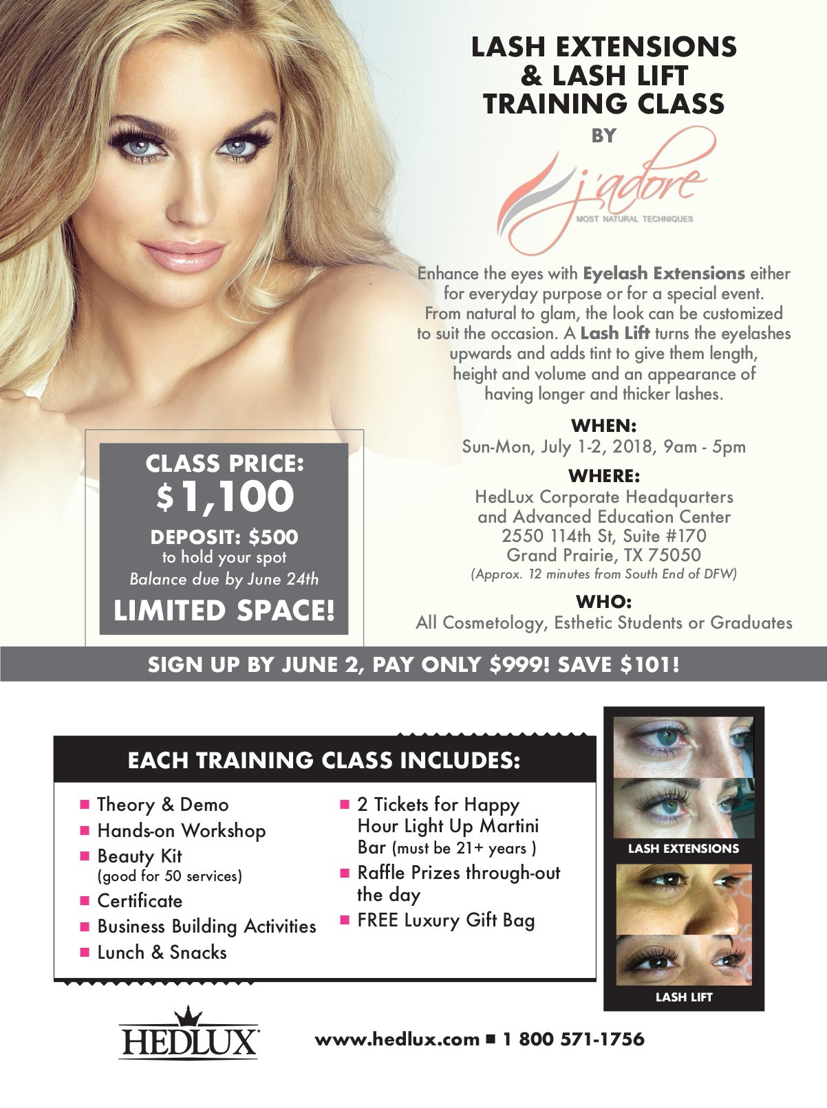 Get Certified With Hedlux And Jadore Eyelash Extensions And Lash