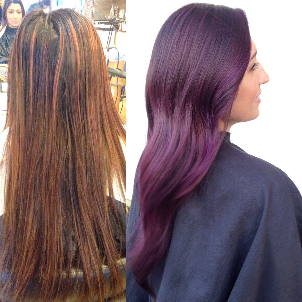 Transformation Plum Color Melt Career Modern Salon