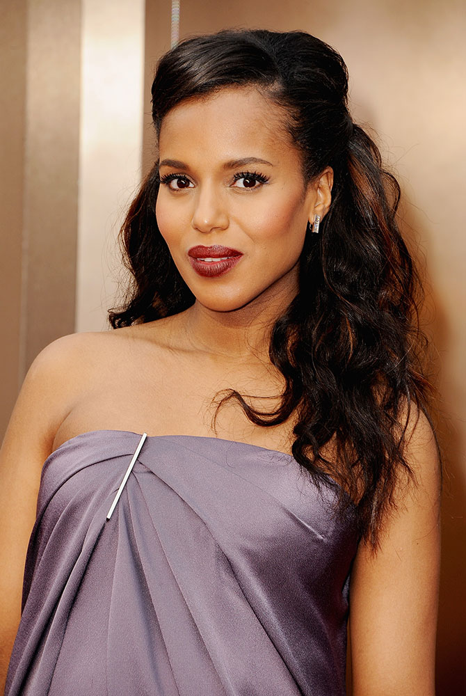 OSCARS: Kerry Washington's Sleek Beach Waves & Dusty Purple Gown