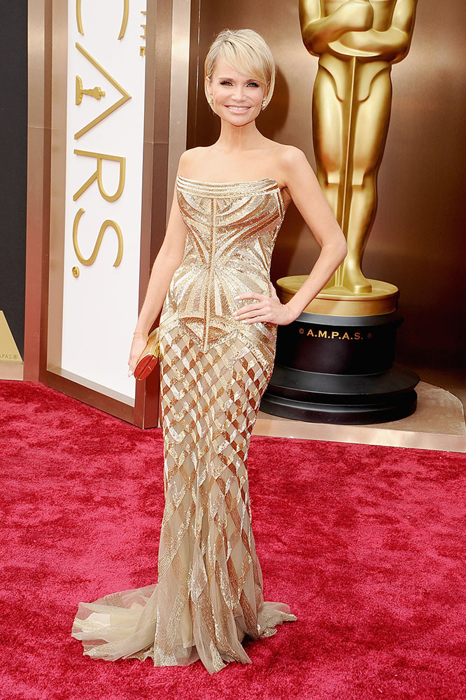 Kristin Chenoweth's Long Layered Pixie and Side-Swept Fringe
