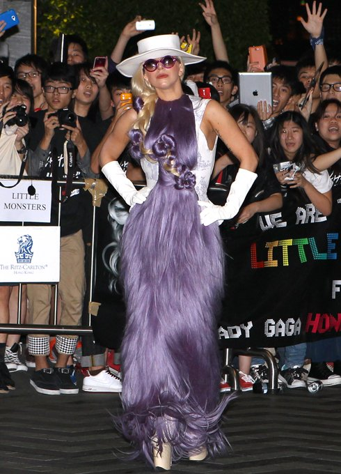 "Lady Gaga's Purple ""Hairy"" Dress"