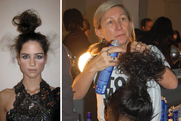 A backstage look at hairstyles from Fashion Week