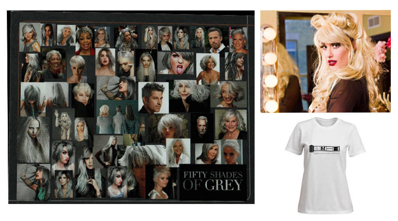 Clockwise from top: Impressions' 50 Shades of Grey marketing postcard, female impersonator Nova D'vine who will rally the audience on opening night, and a T-shirt Impressions is selling featuring the logos of the salon, the ABCD group, and the movie.