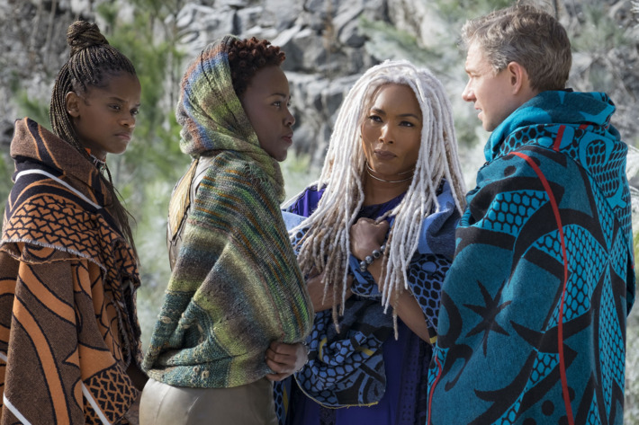LETITIA WRIGHT, LUPITA NYONG'O, ANGELA BASSETT, AND MARTIN FREEMAN<br />FROM<br />MARVELO STUDIO'S BLACK PANTHER
