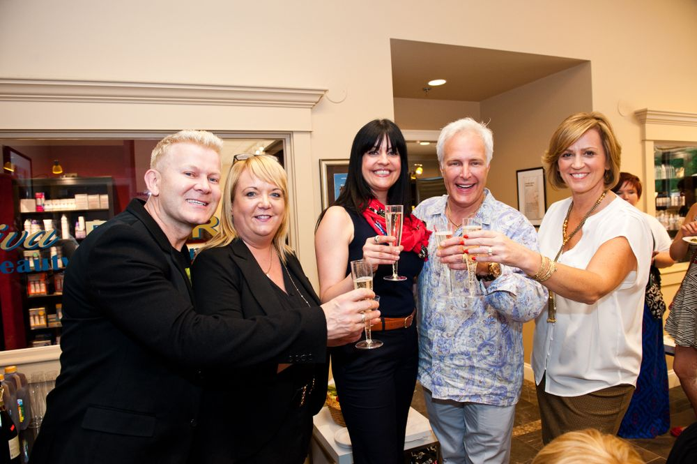 Damien Carney, Sue Pemberton, Angelia Polsinelli, Charles Dudley and Sara Jones in a toast to their partnership.