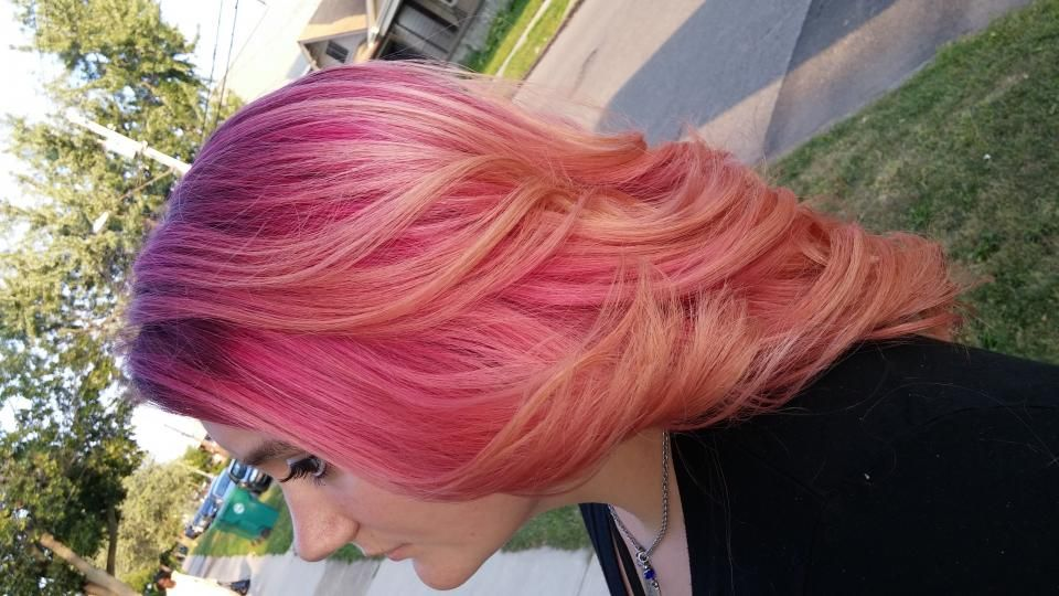 Vibrant pink and peach using Pravana Vivids and Pastels by Chrissie Decker Lange.