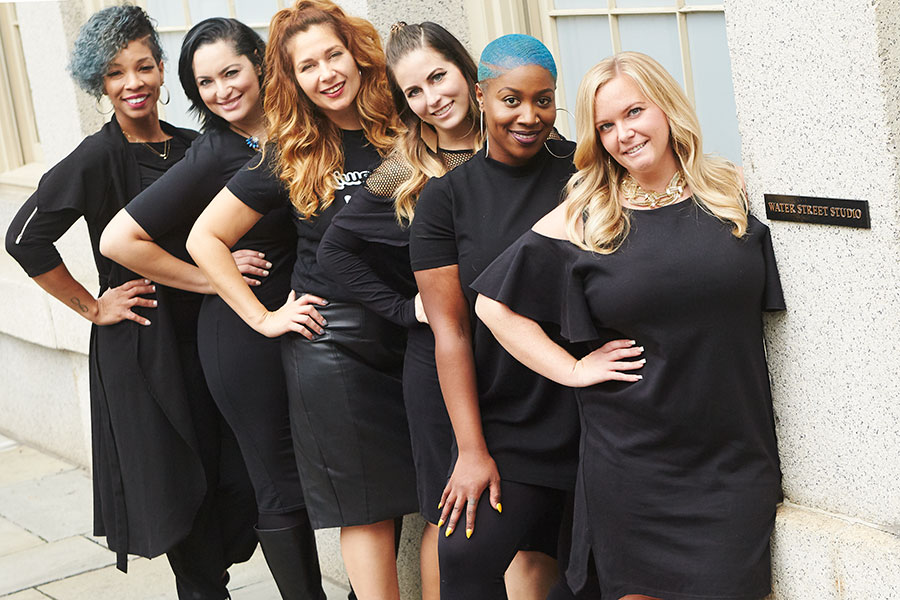 TheSalon by Instyle National Artistic Team. From left: JaimeeHarris Smith, Miguelina Mejia, Kellie Ferraro, Amberle Culver, Brendnetta Ashley, Darcy Falls