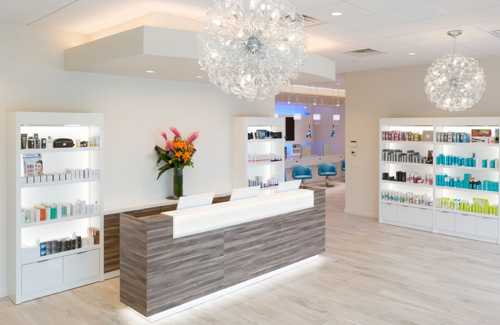 Backstage Salon + Spa greets clients with a light and bright reception area.