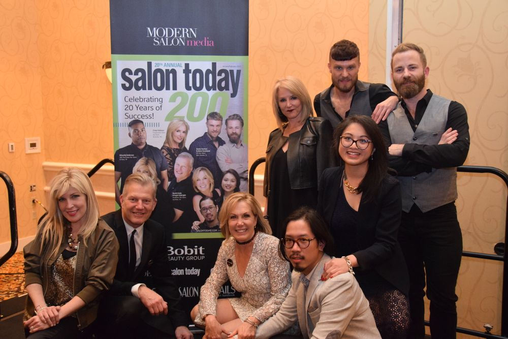 The owners who were featured on the 2017 cover of the Salon Today 200 issue gathered for a fun photo. Pictures from left going counter clockwise are Susan Casale, David Linde, Gayle Fulbright, Martin Truong, Jessica Hoach, Adam Swanlund, James Gartner and Cindy Feldman.
