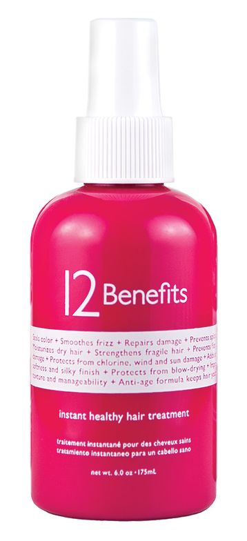 12 Benefits Instant Healthy Hair Treatment is multi-functional and prevents and repairs hair damage with only six ingredients. 12 Benefits precise composition of natural hair lipids and UV absorbers in an ultra-pure base of steam-distilled water reverses stress associated with chemicals, thermal styling and environmental exposure. When applied after a hair-color service, 12 Benefits seals and protects for longer lasting color results. Formulated with only six essential ingredients, misting 2–3 times daily on the mid-shaft to ends (where natural hair lipids are shampooed away before these essential hair moisturizers typically extend) will dramatically reverse the aged and damaged look and feel of hair. For more information visit: www.12benef