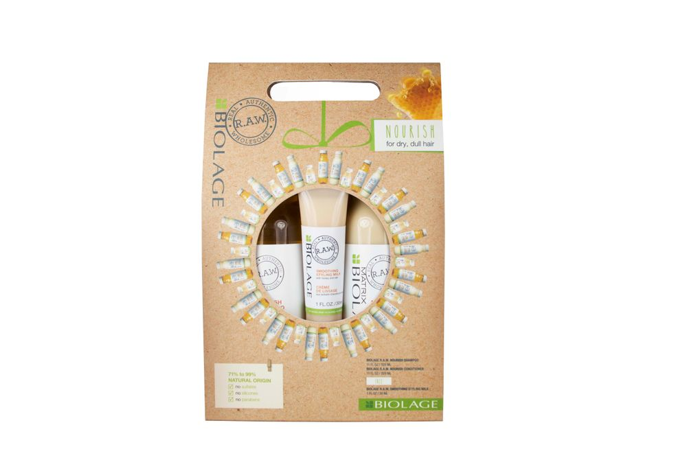 <p>Nourish dry, dull hair with Biolage R.A.W. Nourish Shampoo and Conditioner plus a travel size Biolage R.A.W. Smoothing Styling Milk.</p>
