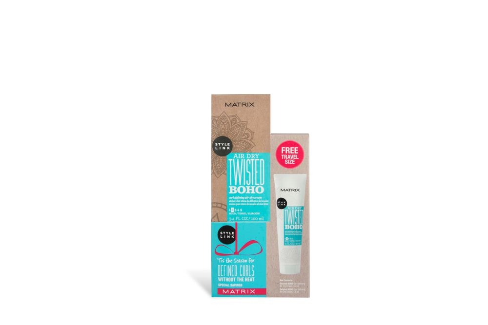 <p>Achieve beachy touchable waves with Style Air Dry Twisted BOHO Curl Defining Air-Dry Cream plus its own Travel Size.</p>