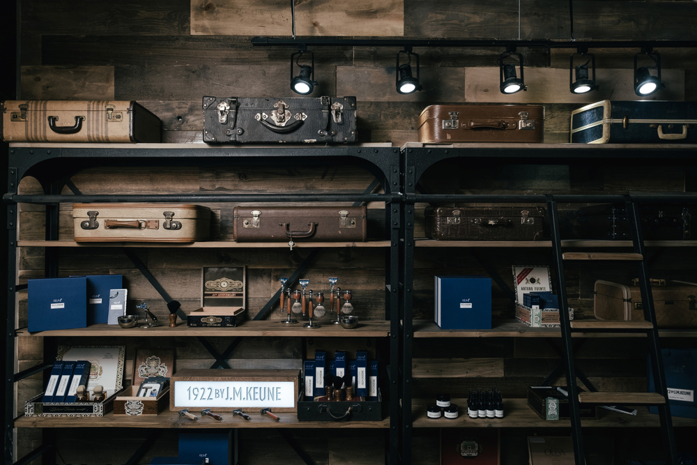 Timmons got the idea for incorporating vintage suitcases into his retail shelves after seeing a display of them in a train station-turned-museum in Amsterdam.