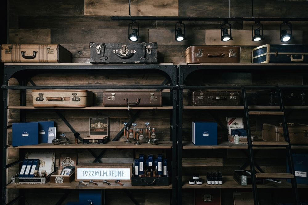 <p>Timmons got the idea for incorporating vintage suitcases into his retail shelves after seeing a display of them in a train station-turned-museum in Amsterdam.</p>