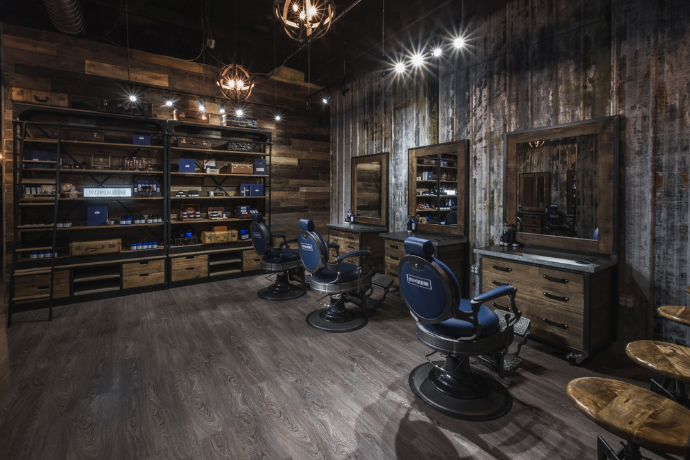 Although the interior of 1922 Men's Grooming Salon is all rustic, manly blue chairs echo the look of the packaging of the 1922 by J.M. Keune line.