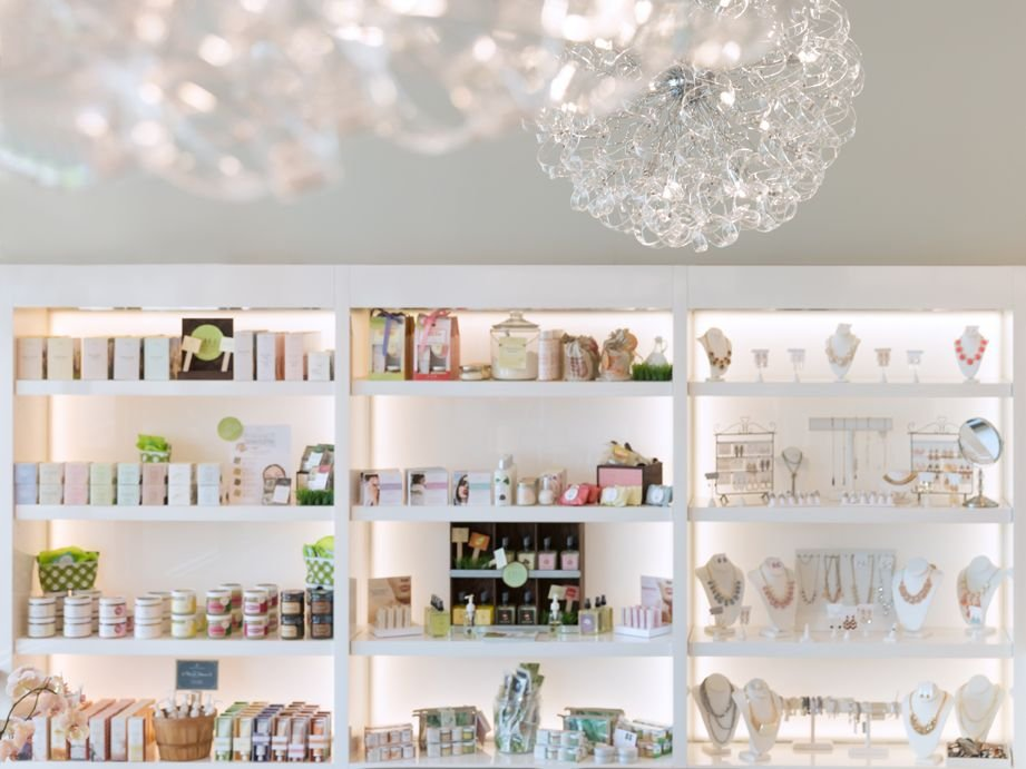 Backlighting in the retail shelves creates attracts shoppers.