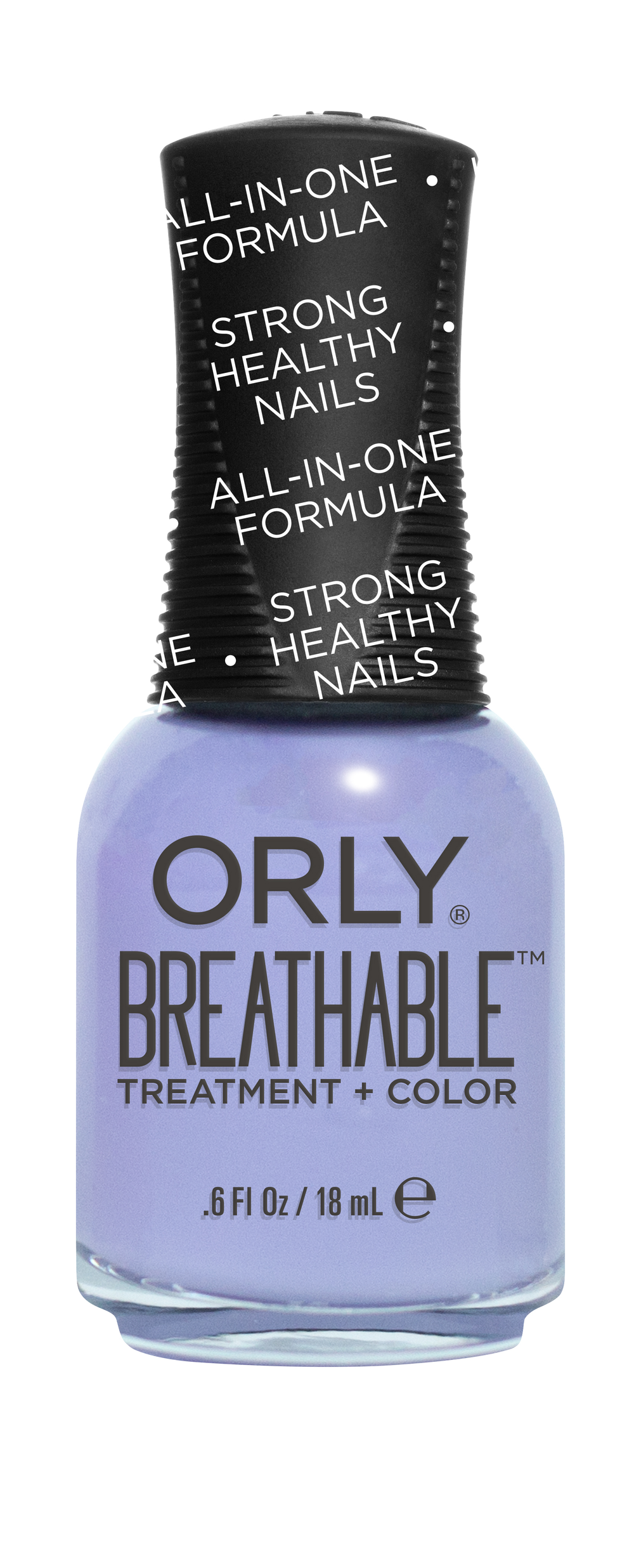 "Orly Breathable Treatment + Color: Compared to a contact lens, this treatment+color allows oxygen and hydration to pass through the nail lacquer, promoting growth, increasing thickness and helping heal damaged nails. Argan oil, vitamins b5 and c hydrate nails, which further helps repair damaged nails. The one-step polish simply requires two coats—and instructs no base or topcoat. The 18-shade collection will be available in September. (Shown in ""Just Breathe""). Visit orlybeauty.com/breathable for more information."