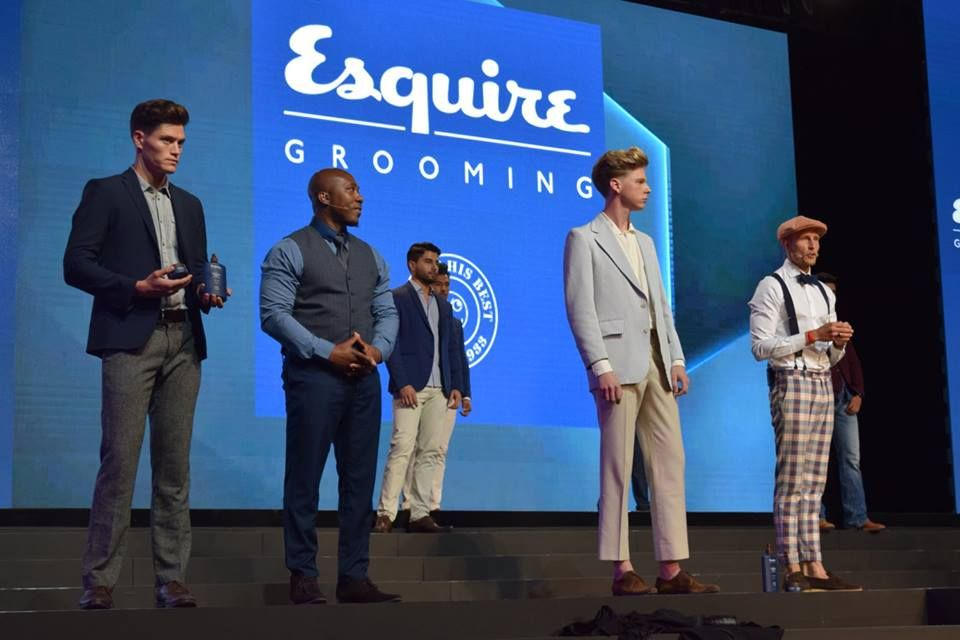 Esquire Grooming models on stage during the general session.