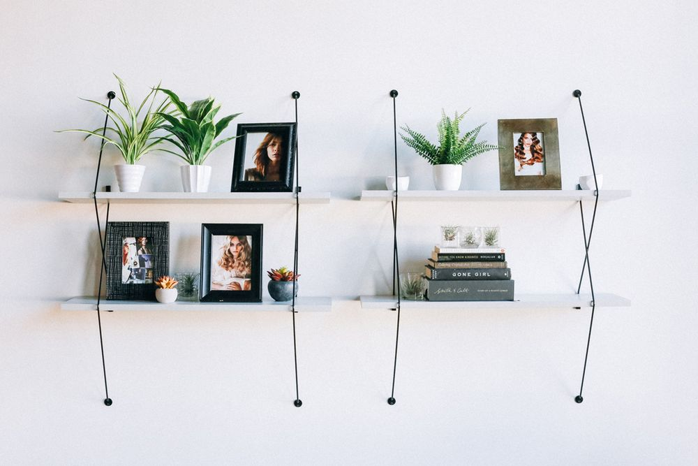 Decorative shelving provides a visual point of interest.