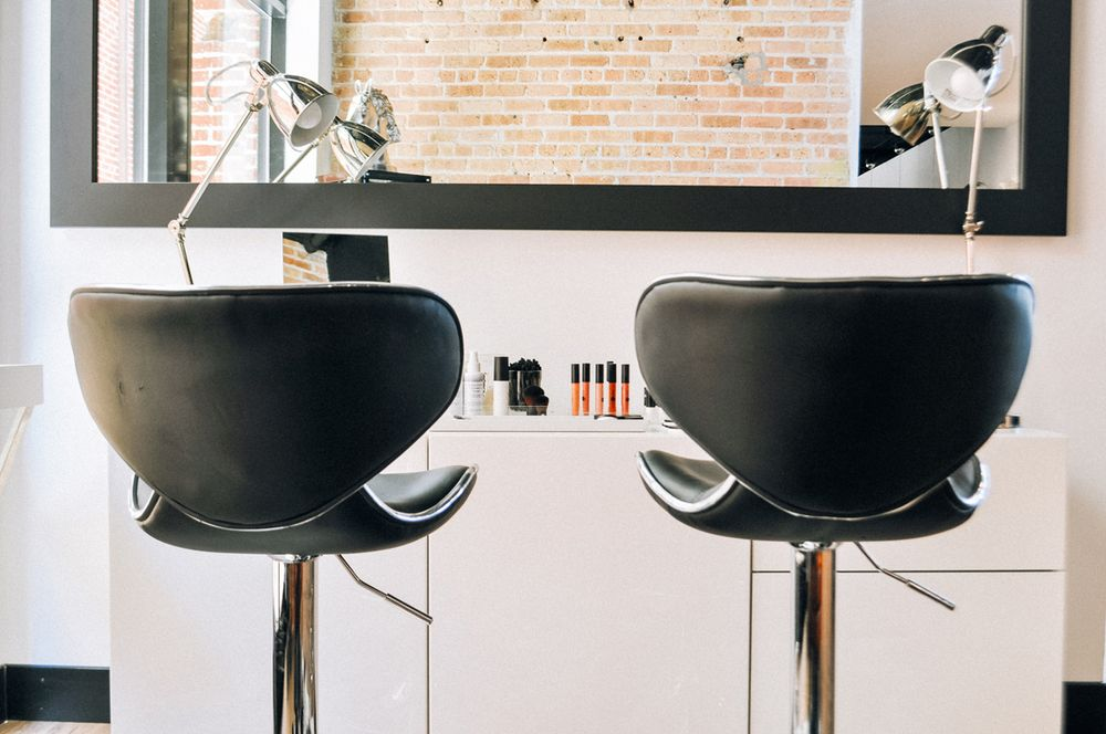 A makeup area encourages clients to experiment with cosmetics products.