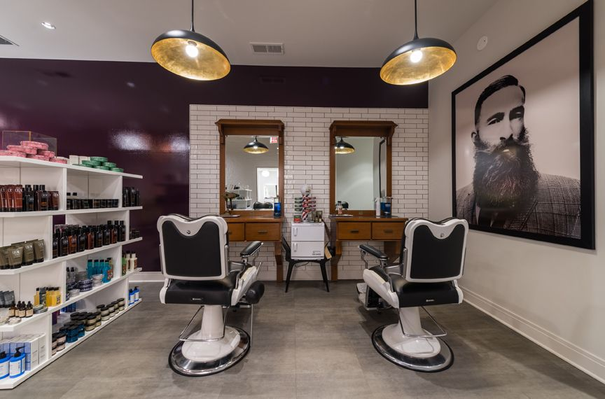 Art + Science West Loop caters to male clientele with a small barbershop within its reception area.