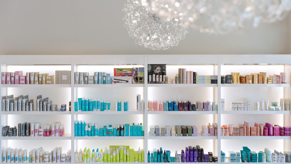 Backlighting in the retail shelves attracts shoppers.