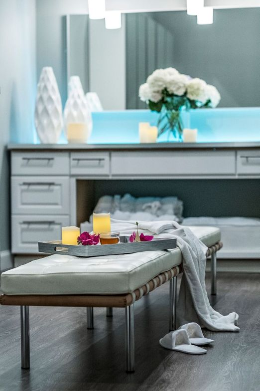 Glossy white furniture communicates luxury.