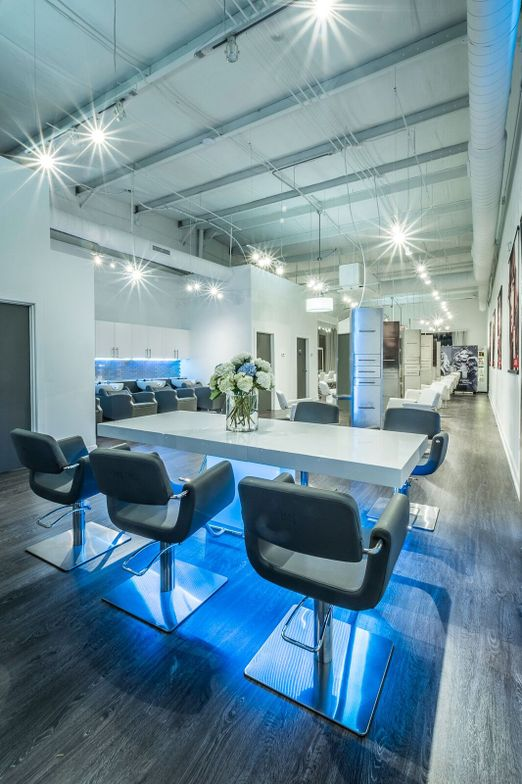 LED lighting in the color area contributes to the metro glam vibe.