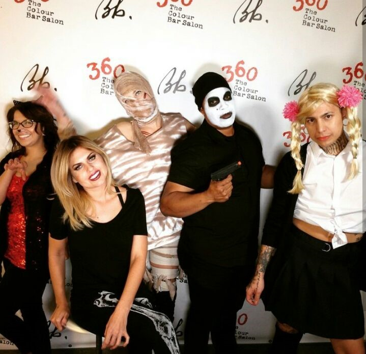 The team from 360 The Color Bar in El Paso, TX, celebrates Halloween.