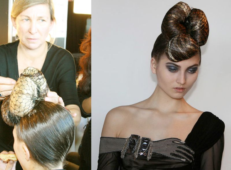 Man Ray-inpsired surreal hair and fashions for Catherine Maladrino's Fall 2009 NY Fashion Week Show at the Rainbow Room. Netted chignons by Odile Gilbert, hair color by Eva Scrivo, both for Wella/Sebastian; Makeup: Tom Pecheux for MAC.