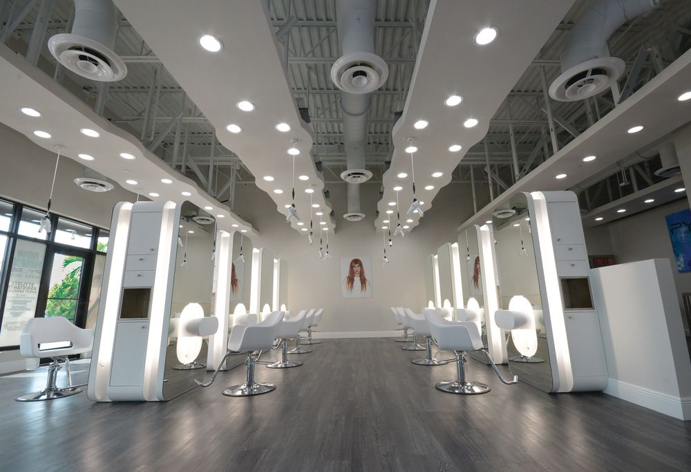 The 12 styling stations are on the opposite side of the salon as the retail space, meaning guests are immersed in both spaces the entire time.