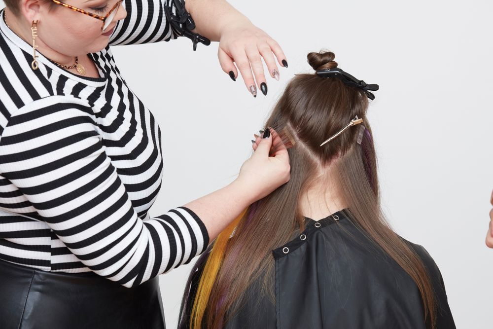 STEP 5. Attach extensions by alternating green, yellow, muted orange, blue and violet, each separated by a ¼-inch parting.