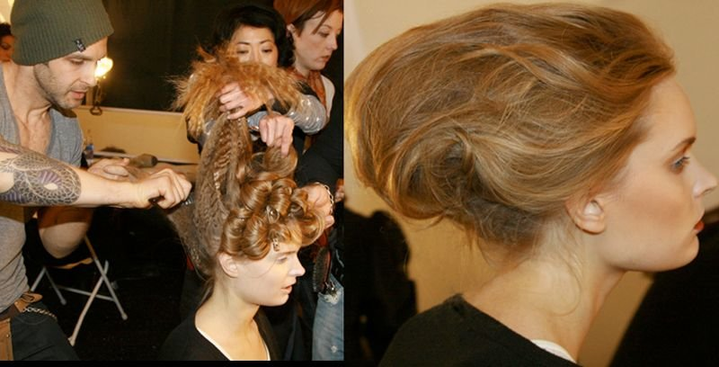 '50s-inpsired romantic updo, crimped and teased out to there, by Aveda's Jon Reyman for the Fall 2009 Academy of Art University School of Fashion Show for graduating students.
