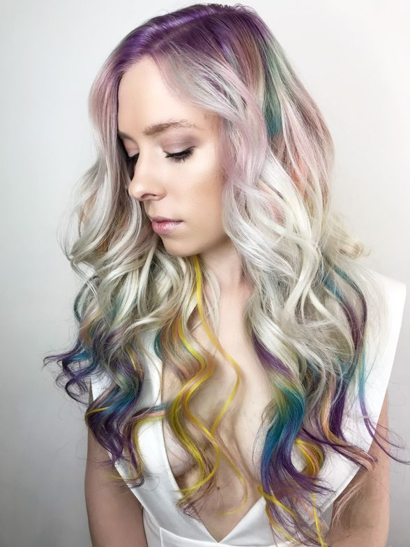 """inspired by Earth's purest gems, I painted 60A 21"" hairtalk extensions with Pravana Vivids, and used pops of color mini strands with sp/613r placed on top and taped to yl/613r to create a softer version of the colors mixed."""