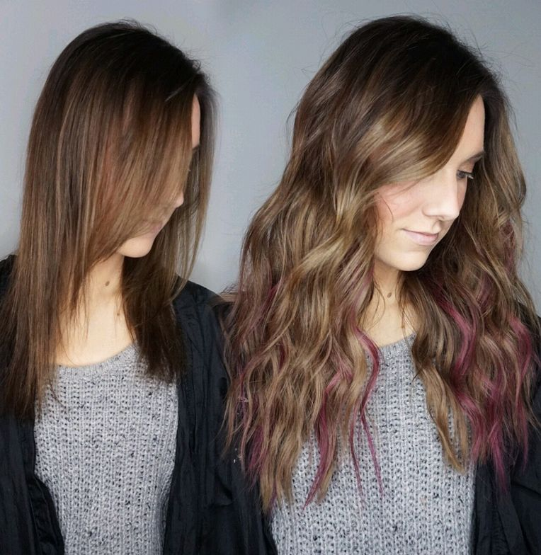 """I glossed the CM extensions with Redken Shades EQ to blend with her cooler tones, and I glossed the pops of color to a softer mauve to fit her style. Pops of color are perfect for not only temporary fun, but also for your finer haired guests who like to stay away from lightener. They're also super fun to apply!"""