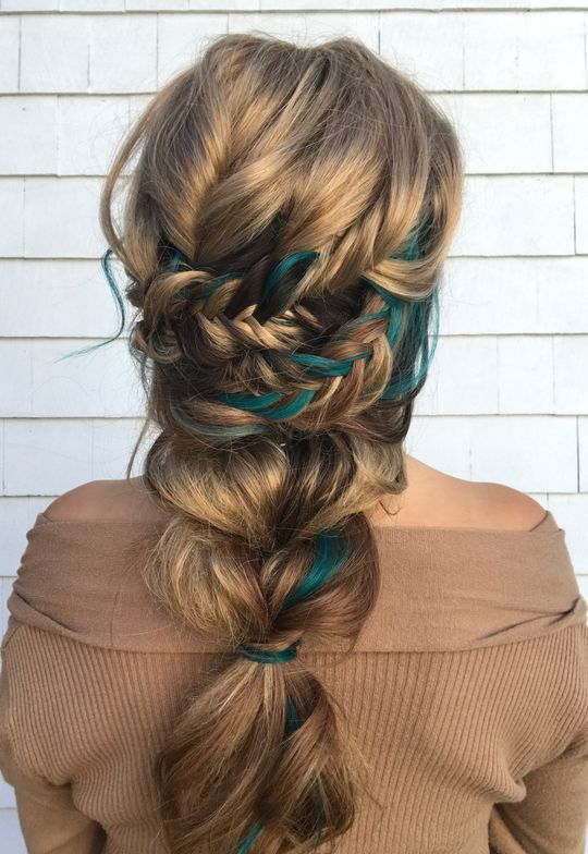 """For this look I used the tape-in teal extensions for a pop of color and colormelt hair band. This is two fishtail braids criss-crossed into a big pull through braid!"""