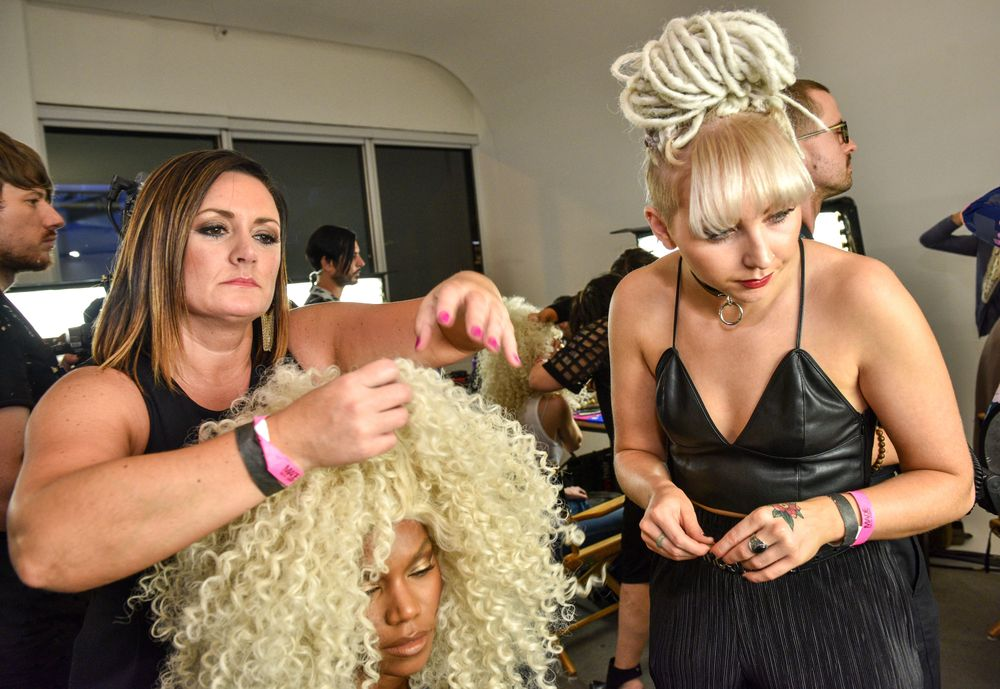 """Sexy Hair """"Faux-topgraphy"""" backstage at The Blonds S/S '17."""