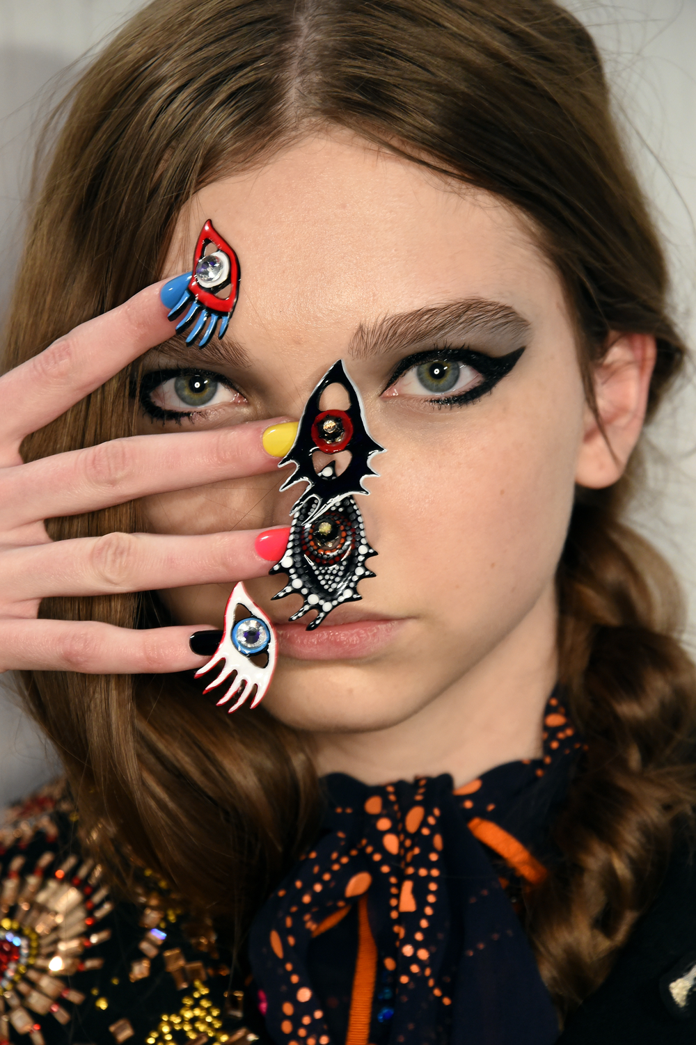 Other looks featured these hand-made eye adornments.