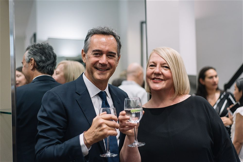 Daniel Kaner and Debbie Webster in NYC, toasting the launch of the Oribe and Sassoon partnership.