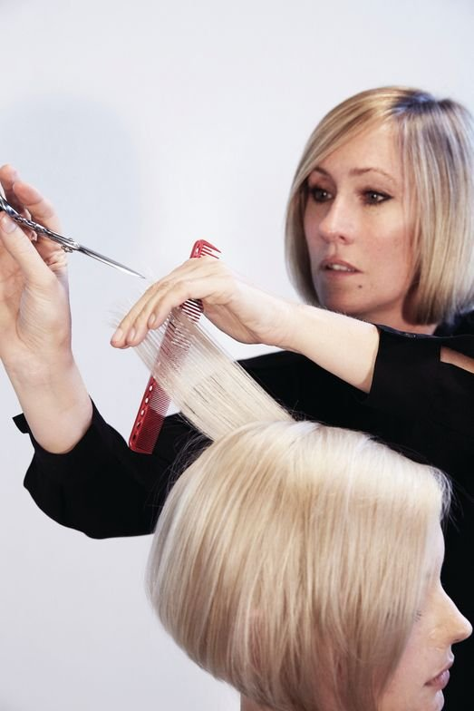 <p>Release the top sections and blow dry. Take vertical partings and elevate 45˚ above the horizontal line and the finger angle is 90˚. Cut using a point-cutting technique to soften and create movement.</p>