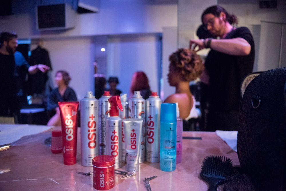 Schwarzkopf Professional Osis+ products backstage for styling.